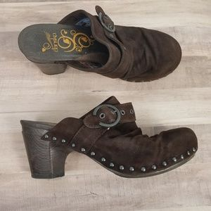 DANSKO Nadine Brown Studded Buckle Clogs Size 39